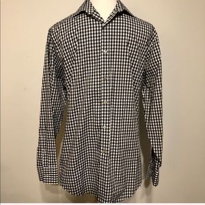 Geoffrey Beene Navy Checked No-Iron Shirt- Sz 15.5